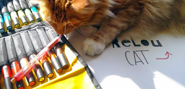 chat et crayons