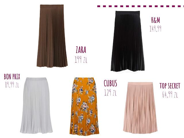 plisowane spódnice, trendy, sieciówki