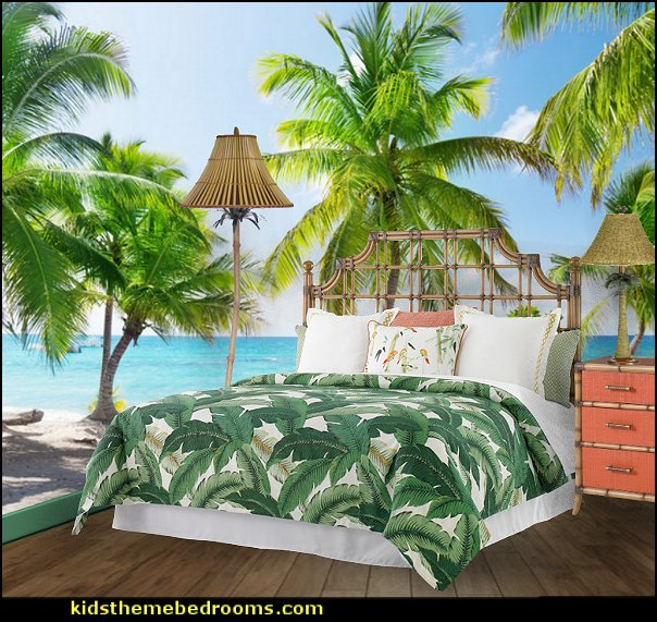 Tropical bedroom ideas - tropical bedroom decor - tropical beach style bedroom decorating ideas - tropical wall murals - palm trees decor  - tropical furniture - tropical bedding - island style bedding - ocean wall decorations - tropical birds decor - raffia decorations - tropical luau Hawaiian bedrooms - surfer bedroom ideas -  tropical wallpaper - tropical decor - beach bedroom ideas - Flamingo  decor