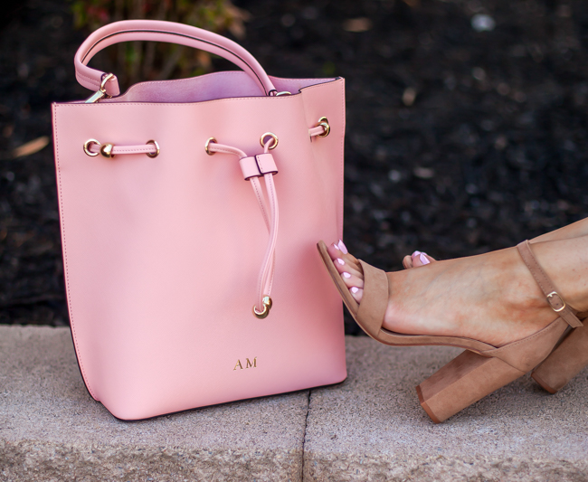 the daily edit pink bucket bag