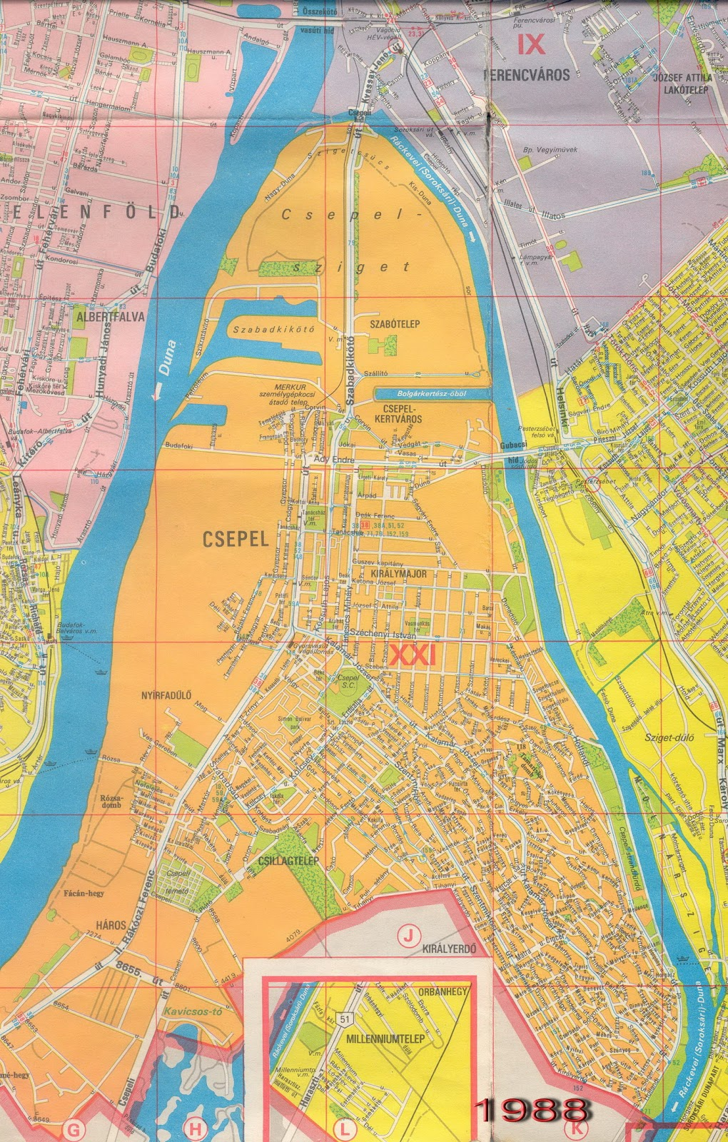 budapest térkép csepel PESTERZSÉBETI ÉRDEKES: Pesterzsébet és környéke (2.r.) 1988  budapest térkép csepel