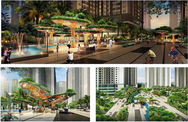Các quảng trường tại dự án chung cư Goldmark City 136 Hồ Tùng Mậu