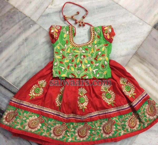 Mirchi Red Kids Lehenga Allover Blouse