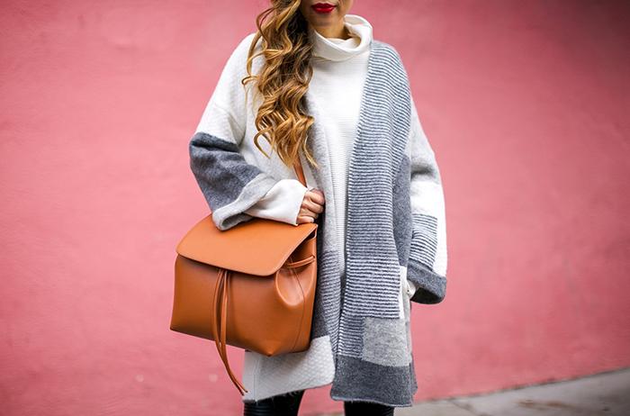 Topshop patchwork cardigan, mansur gavriel lady bag, acne studio sweater, blank denim moto pants, wedge ankle booties, san francisco fashion blog, san francisco street style, holiday outfit ideas