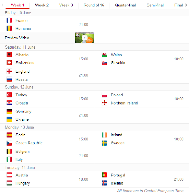 uefa euro 2016 schedule fixtures and time table. Black Bedroom Furniture Sets. Home Design Ideas
