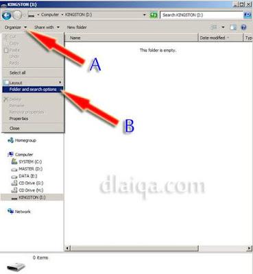 klik 'organize' lalu 'folder and search options'