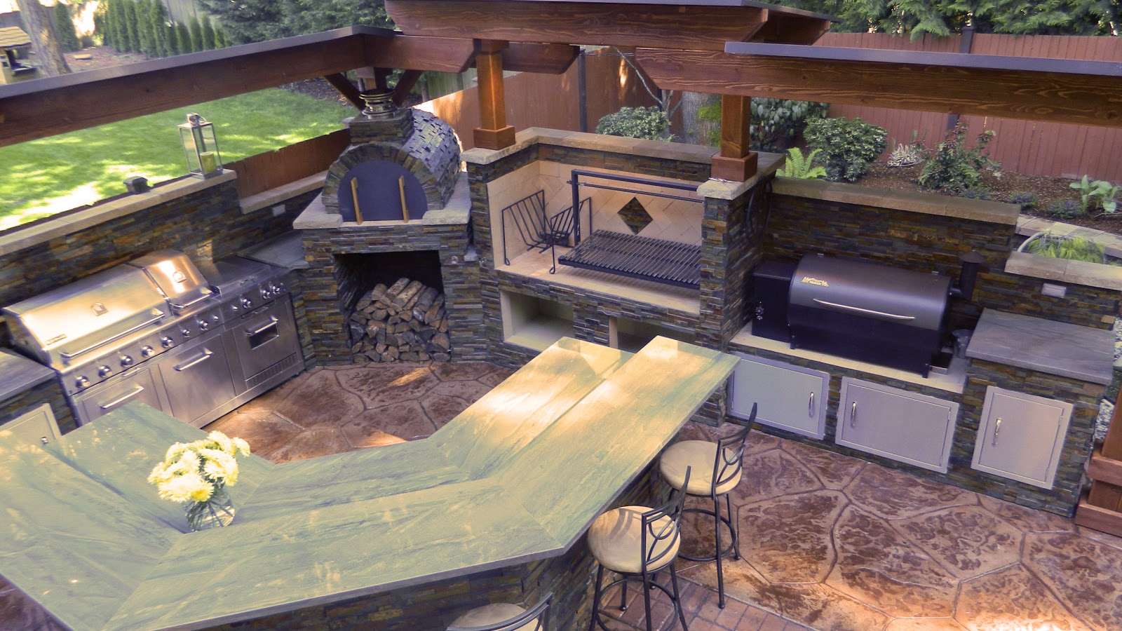outdoor kitchen oven costco appliances with argentinian grill brickwood pizza and smoker in kirkland washington
