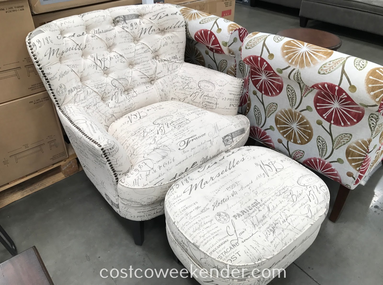 Pulaski Fabric Accent Chair With Ottoman Costco Weekender