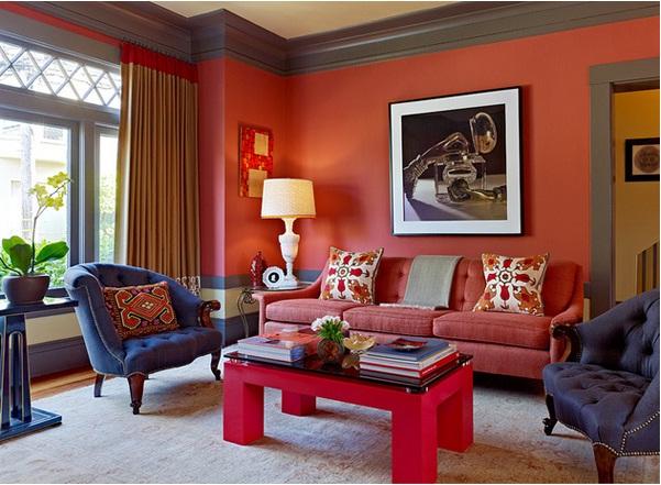 Penggunaan Warna Merah Di Ruang Tamu Minimalis Gambar Jeffers Design Group