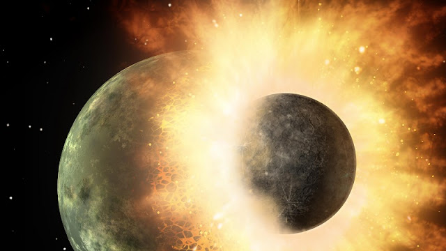 Ilustrasi Theia Impact berupa tabrakan bumi dengan planet lain berukuran setengah Mars