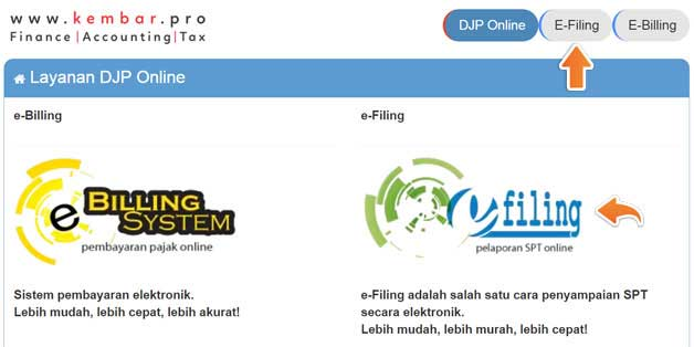 Menu Layanan eFiling DJP Online
