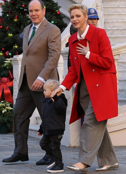 Prince Albert, Princess Charlene, Prince Jacques and Princess Gabriella attended the Children's Christmas ceremony and the Christmas gifts distribution at the Monaco Palace.