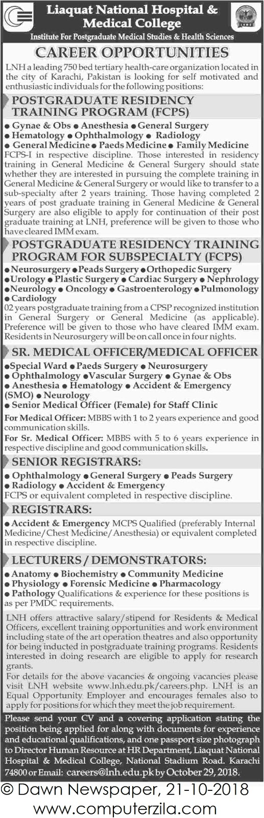 Career Opportunities at Liaquat National Hospital & Medical College