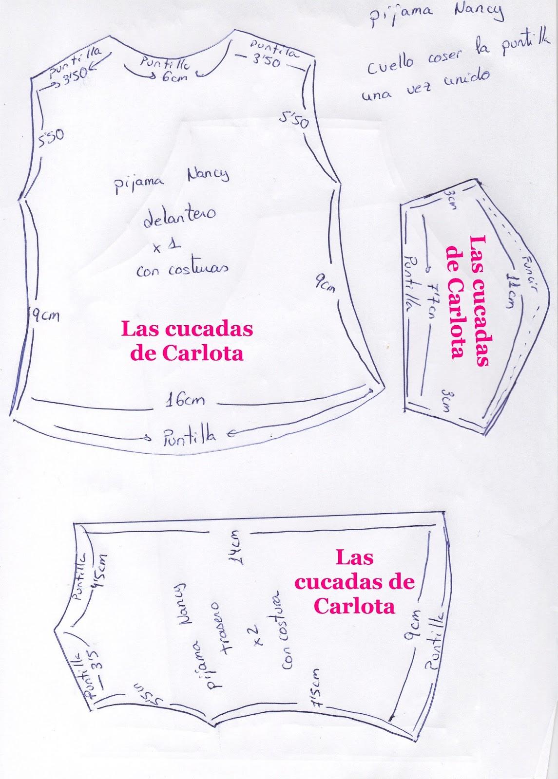 Las cucadas de Carlota y sus muñecas: Patrón pijama largo Nancy