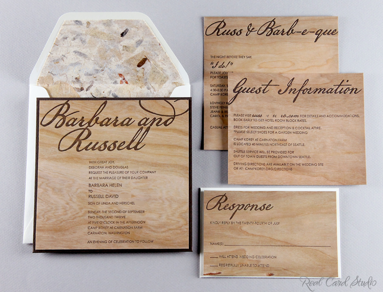 Real Card Studio Invitations on Wood Cards for a Rustic Wedding – Wood Invitations Wedding