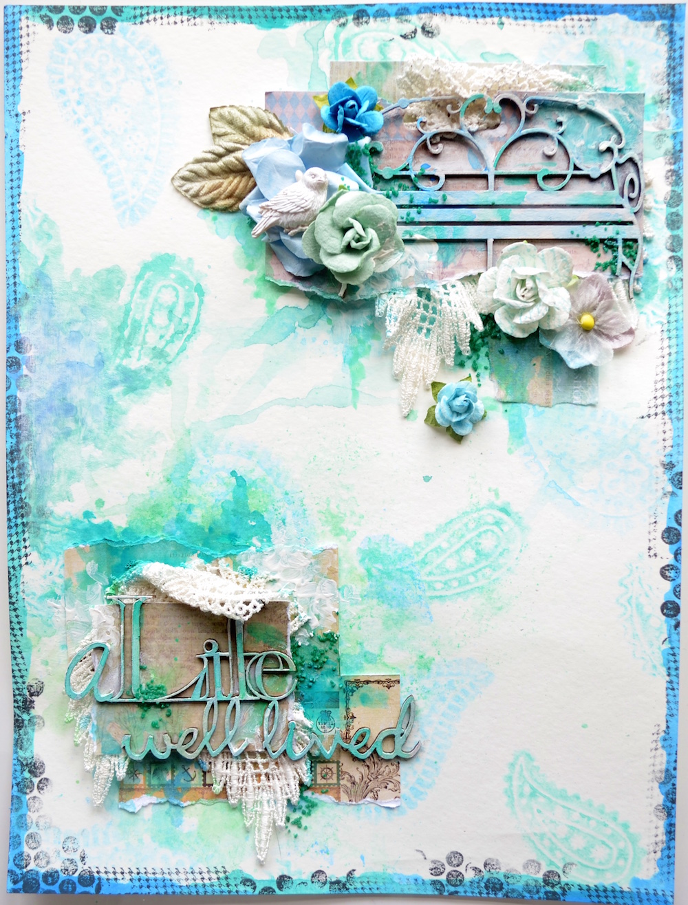 simple vintage layout art journal by song scrap fx blog