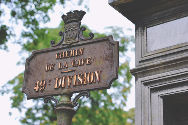 Street sign at Pere Lachaise Cemetery