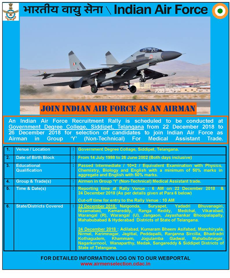 Indian Air Force Siddipet Telangana Govt Jobs 2018 IAF