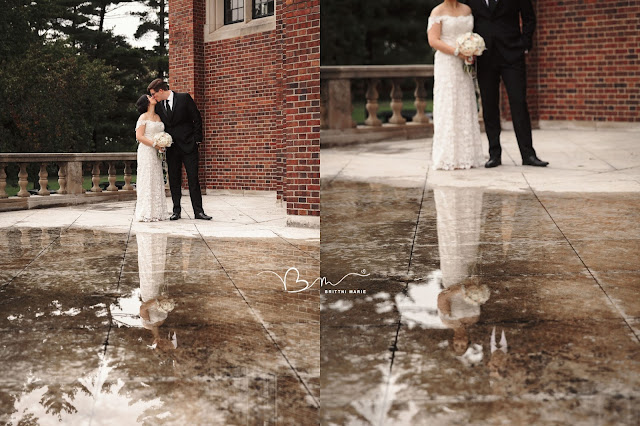 bride and groom with puddle reflection at Grosse Point Academy