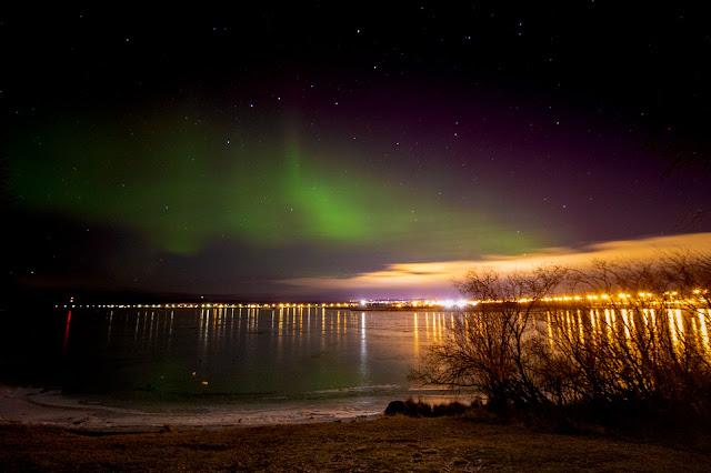 Aurora boreale dal parco dell'Arktikum museum-Rovaniemi