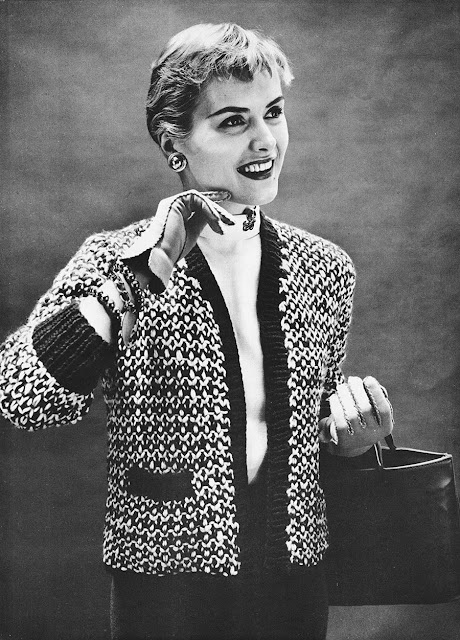 The Vintage Pattern Files: 1950s Free Knitting Pattern - Chanel-esque Sweater Jacket