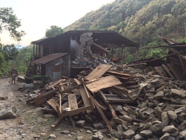 Houses destroyed by earthquake