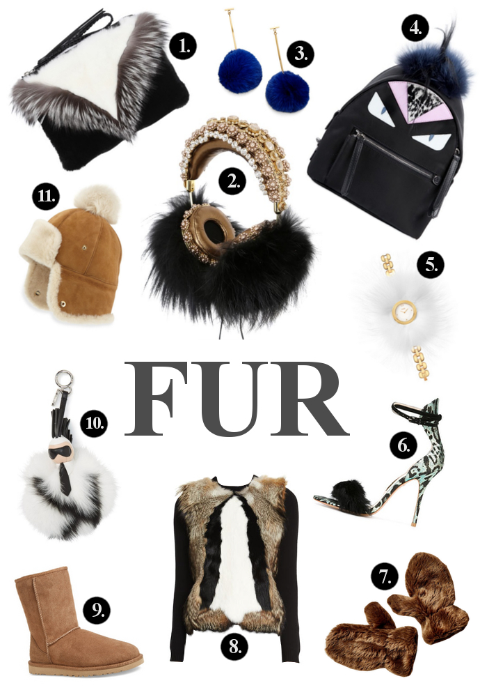 Elena Ghisellini Fur Pouch, Dolce & Gabbana Frends Embellished Headphones, Tuleste Pom Pom Earrings, Fendi Mini Monster Backpack, Fendi My Way Watch, Sophia Webster Nicole Sandals, Urban Outfitters Gloves, Tom Ford  Long Sleeve Pullover, UGG Boots , Fendi Pom Pom Karl Bag Charm, UGG Flap Hat