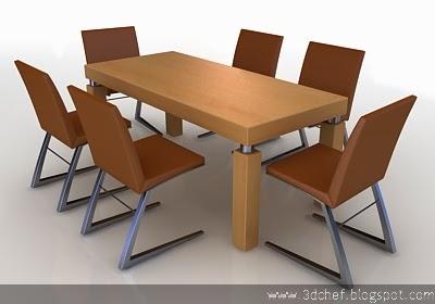 free 3d model dining set