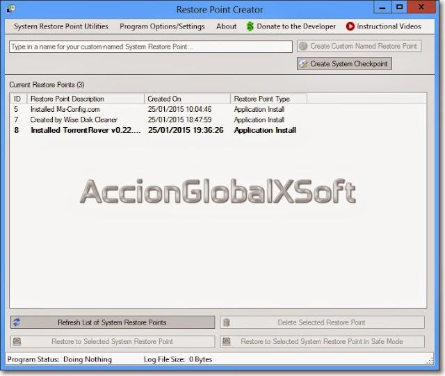 Restore Point Creator 6.9 Build 2 + Portable | Crea y gestiona puntos de restauración de sistema en Windows