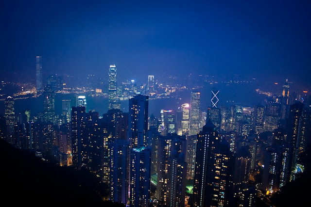 Backpacking travel adventure and hong kong travel skyline buildings