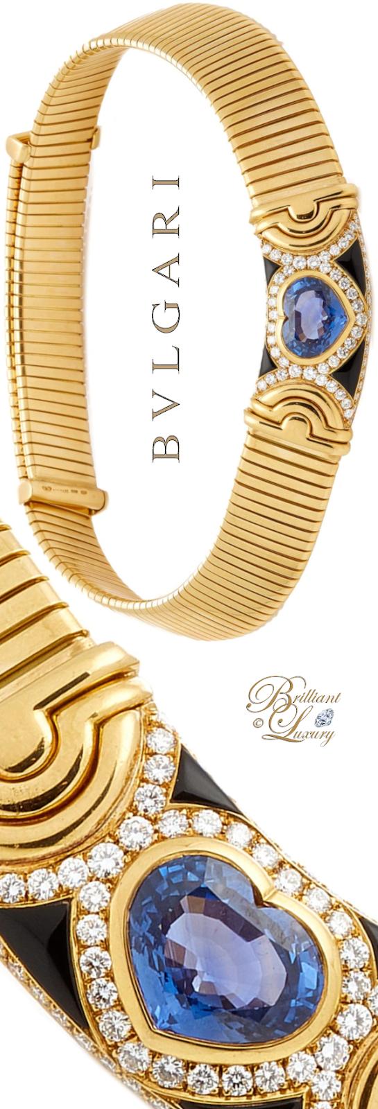 Brilliant Luxury♦Vintage Bvlgari Parentesi Tubogas And Heart-Shaped Sapphire Necklace