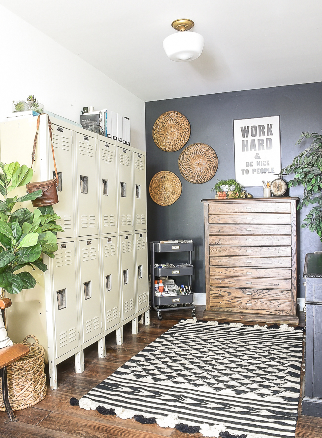 modern industrial farmhouse office with DIY vintage inspired map cabinet