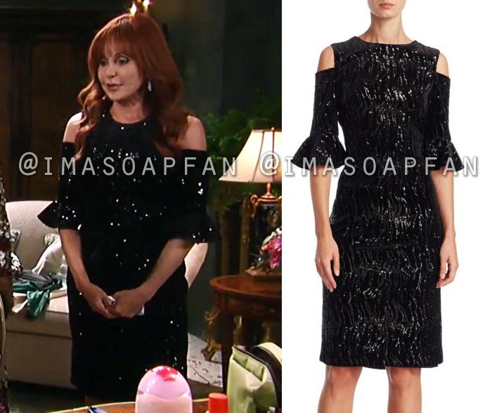 Bobbie Spencer, Jackie Zeman, Sequined Black Dress, Teri Jon, General Hospital, GH