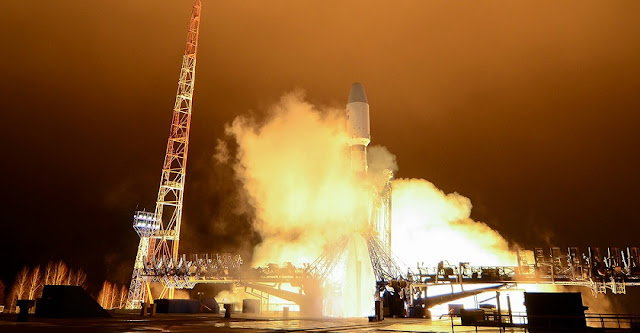 Lotos-S1 satellite launched atop a Soyuz 2.1b rocket on October 25, 2018. Photo Credit: Russian Defense Ministry.