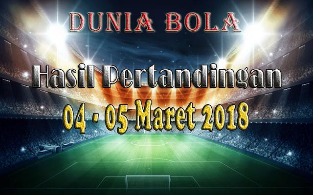 Hasil Pertandingan Sepak Bola Tanggal 04 -  05 Maret 2018