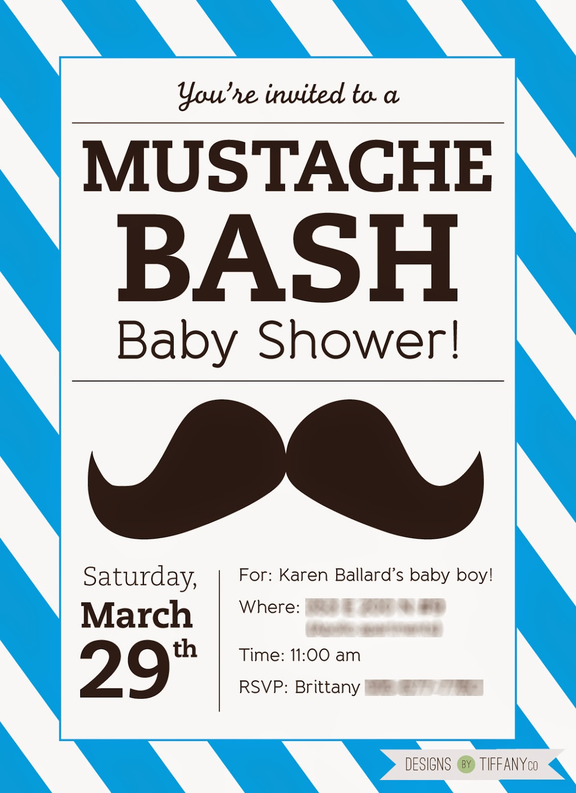 graphic about Free Printable Mustache Baby Shower Invitations referred to as Free of charge Printable Mustache Boy or girl Shower Party! - Patterns by means of TiffanyCo