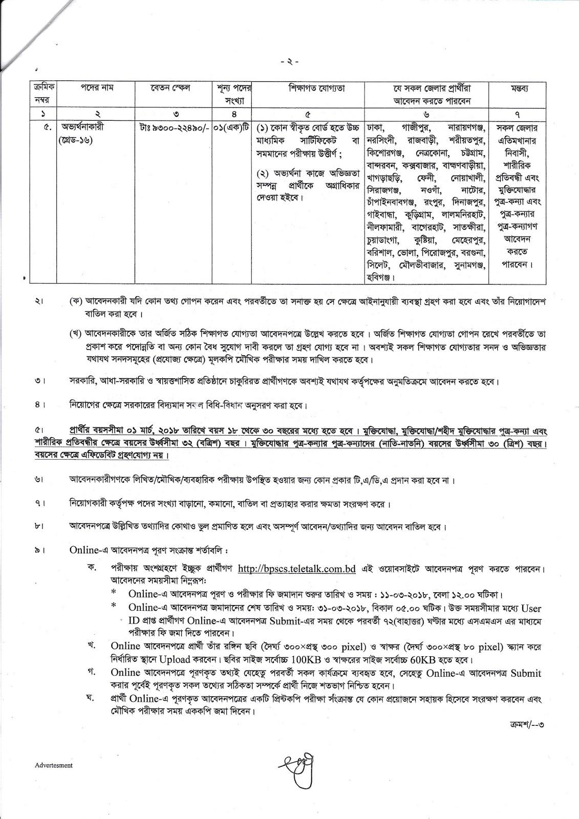 BPSC Secretariat Office Job Circular 2018