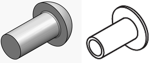 Two examples of rivets. Left: Round head. Right: flat head.