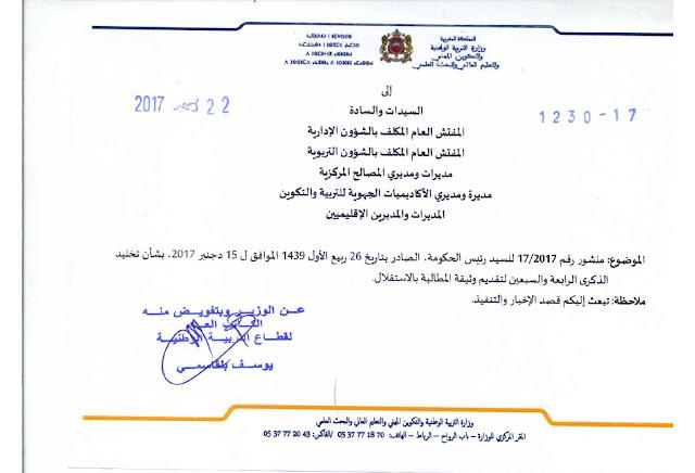 منشور لرئيس الحكومة بشأن تخليد الذكرى الرابعة والسبعين لتقديم وثيقة المطالبة بالاستقلال