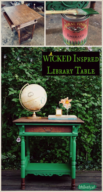 wicked the musical inspired antique library table makeover before and after using general finishes emerald green milk paint