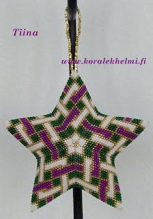 korujen tekeminen itse, käsintehdyt korut, Joulukoristeet helmistä, peyote pisto, Miyuki Delica siemenhelmet,