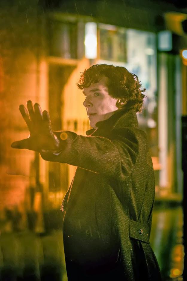 Benedict Cumberbatch as Sherlock Holmes in BBC Sherlock Season 3 Episode 1 The Empty Hearse