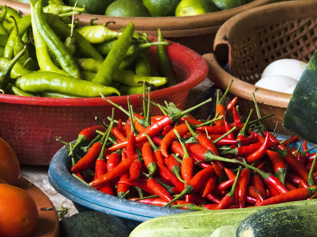 Hot peppers in the market in Hoi An Vietnam