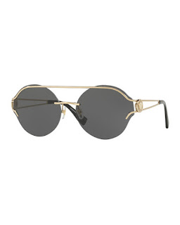 Replica Versace Round Rimless Open-Temple Sunglasses