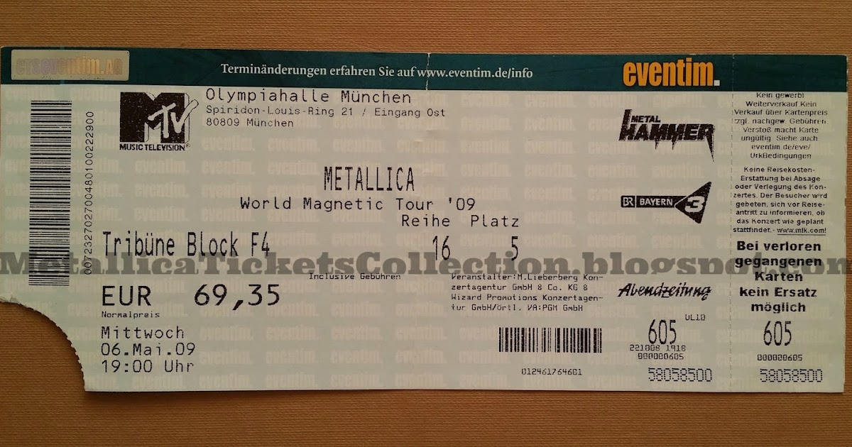 Metallica Tickets Collection: Death Magnetic German Tour 2009