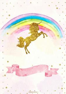 Para hacer invitaciones, tarjetas, marcos de fotos o etiquetas, para imprimir gratis de Fiesta de Unicornios.