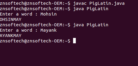 Java code to find the pigLatin equivalent of a word