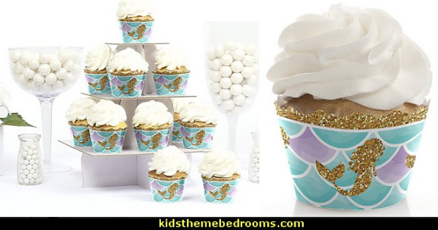 Let's Be Mermaids - Baby Shower or Birthday Party Cupcake Wrappers