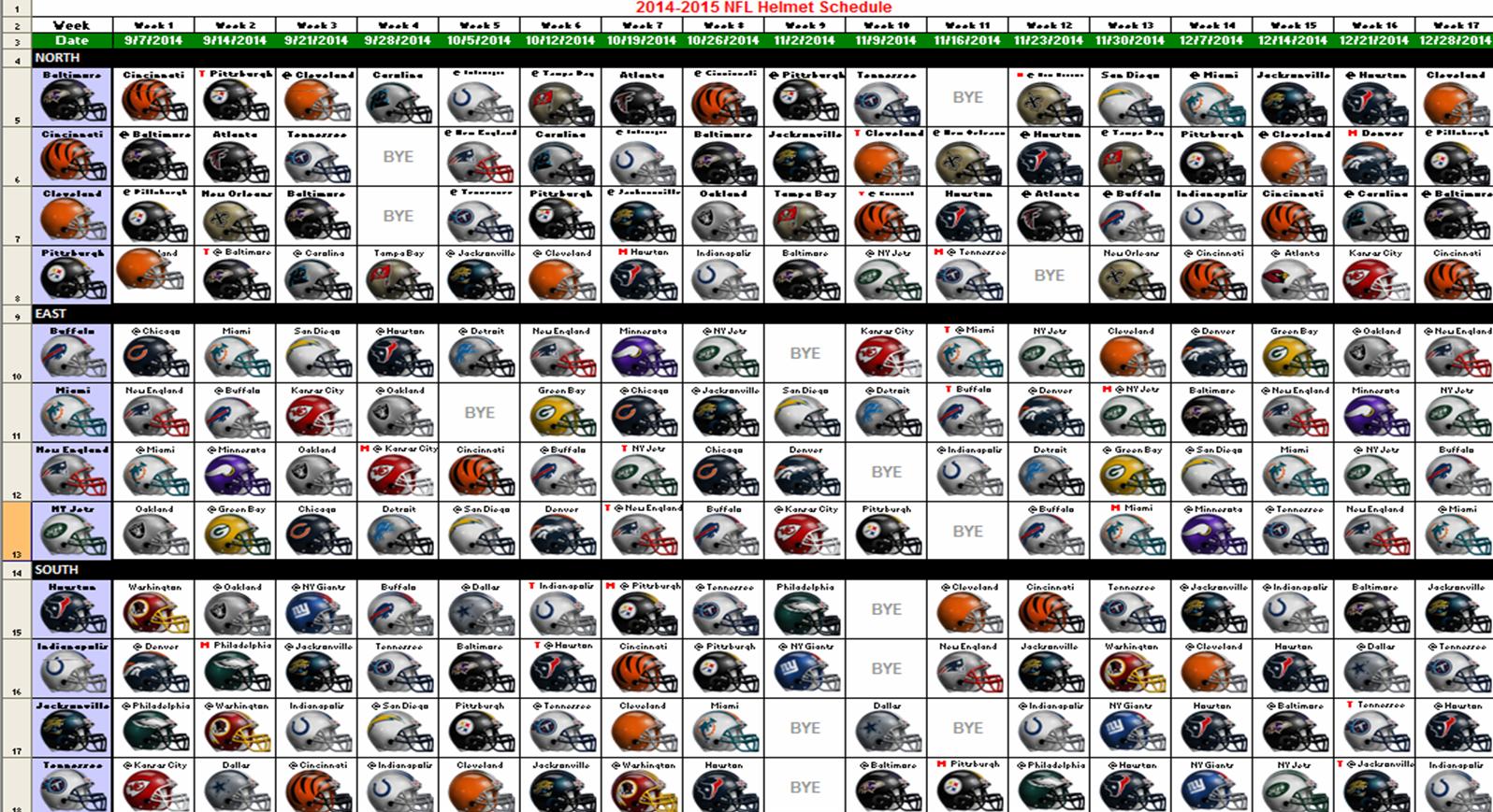 2014 6 2013 Nfl Printable Schedule Week
