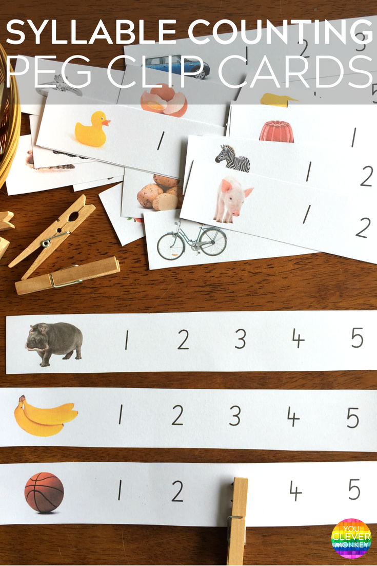 Syllable Counting Peg Clip Cards - these printable cards make learning how to hear and count syllables fun and hands-on. Perfect for literacy centers | you clever monkey